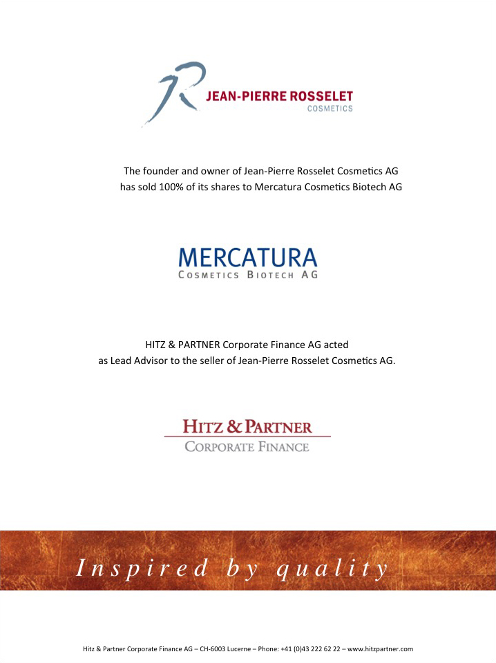 Mercatura Cosmetics Biotech AG acquired Jean-Pierre Rosselet Cosmetics AG