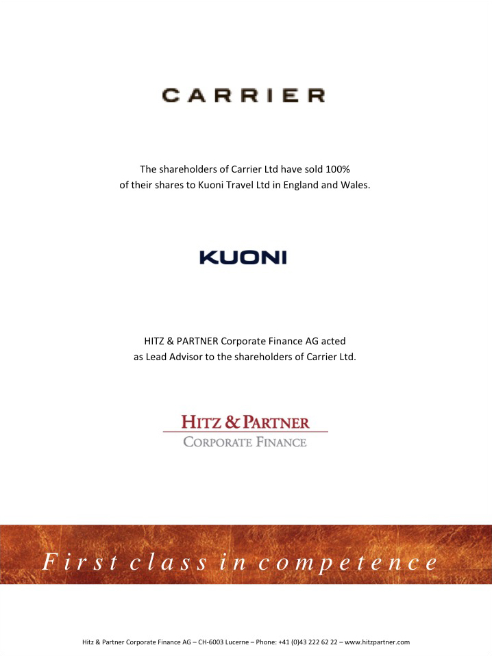 Kuoni acquires UK-based luxury provider Carrier Ltd.